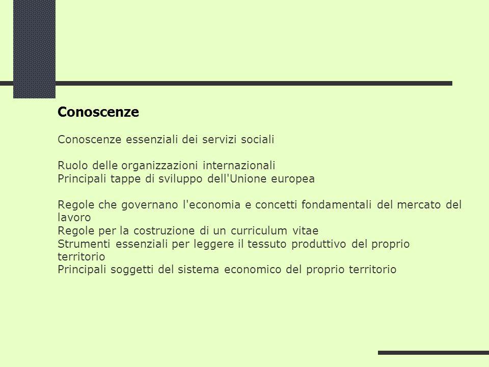 Conoscenze Conoscenze essenziali dei servizi sociali Ruolo delle organizzazioni internazionali Principali tappe di sviluppo dell'Unione europea Regole