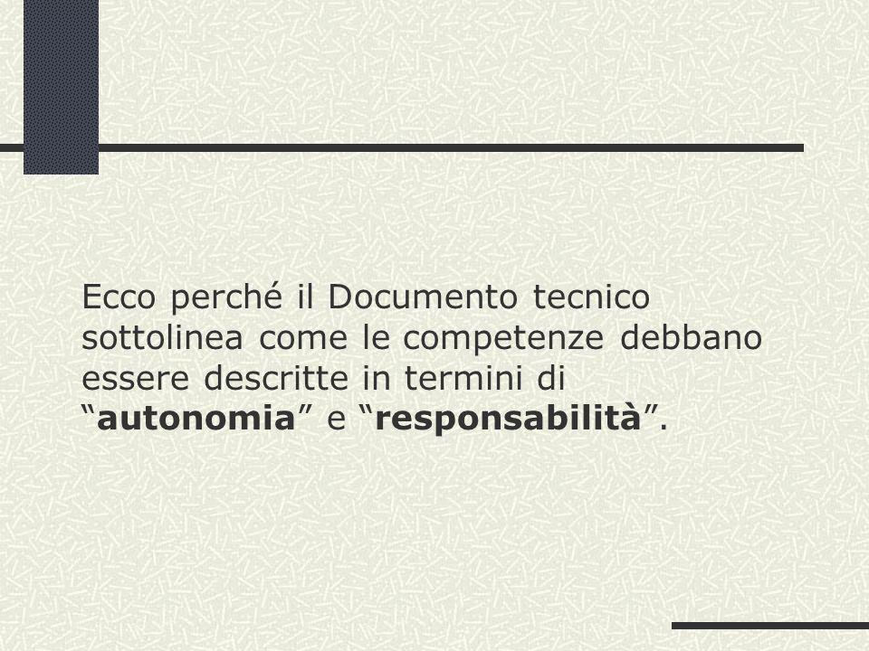 Ecco perché il Documento tecnico sottolinea come le competenze debbano essere descritte in termini diautonomia e responsabilità.