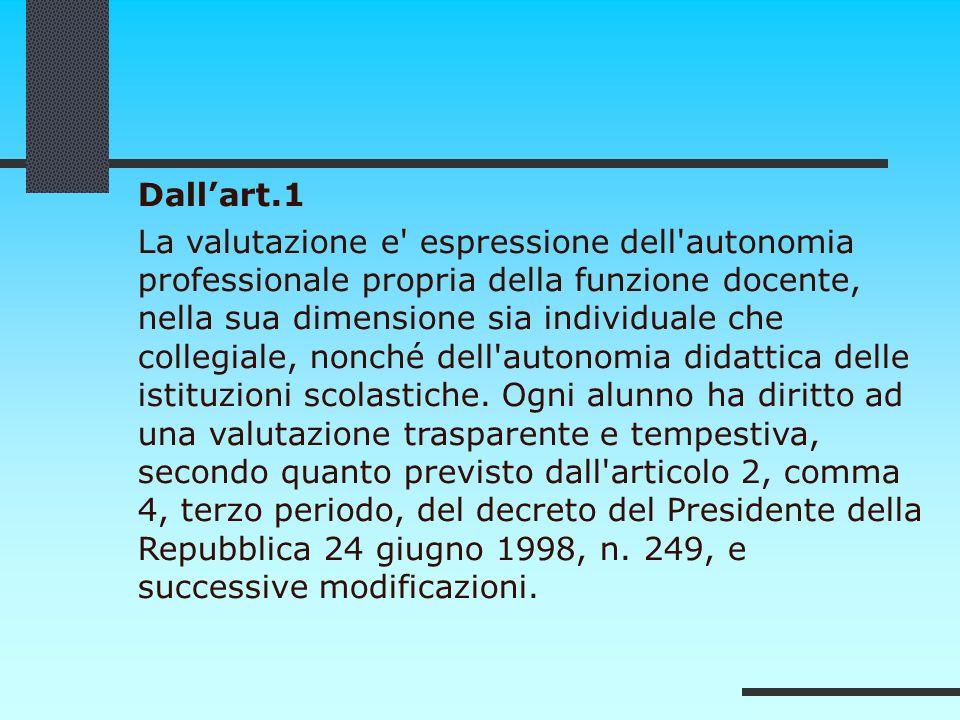 Dallart.1 La valutazione e' espressione dell'autonomia professionale propria della funzione docente, nella sua dimensione sia individuale che collegia