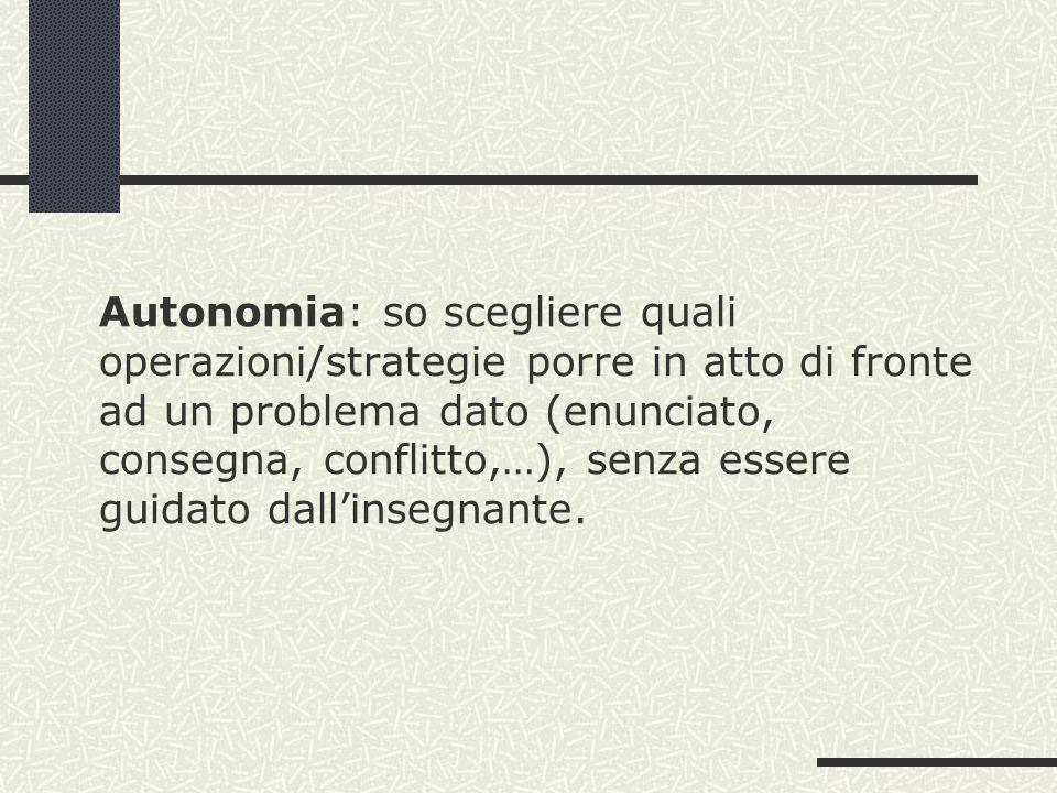 Autonomia: so scegliere quali operazioni/strategie porre in atto di fronte ad un problema dato (enunciato, consegna, conflitto,…), senza essere guidat