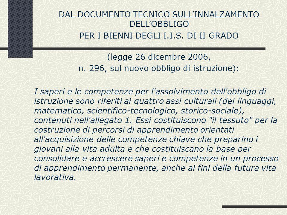 DAL DOCUMENTO TECNICO SULLINNALZAMENTO DELLOBBLIGO PER I BIENNI DEGLI I.I.S. DI II GRADO (legge 26 dicembre 2006, n. 296, sul nuovo obbligo di istruzi