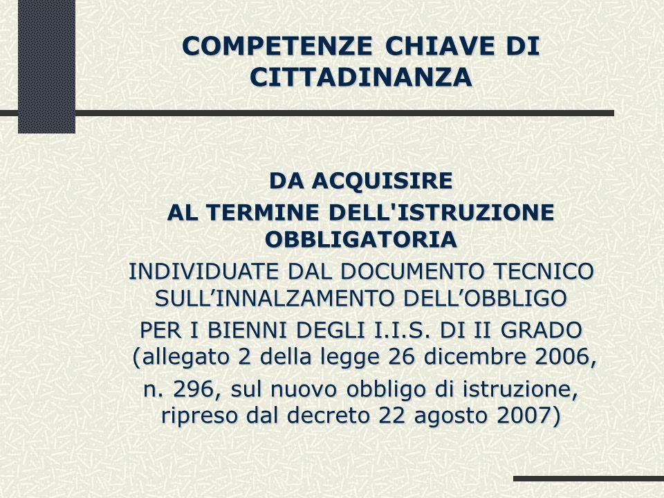 COMPETENZE CHIAVE DI CITTADINANZA DA ACQUISIRE AL TERMINE DELL'ISTRUZIONE OBBLIGATORIA INDIVIDUATE DAL DOCUMENTO TECNICO SULLINNALZAMENTO DELLOBBLIGO