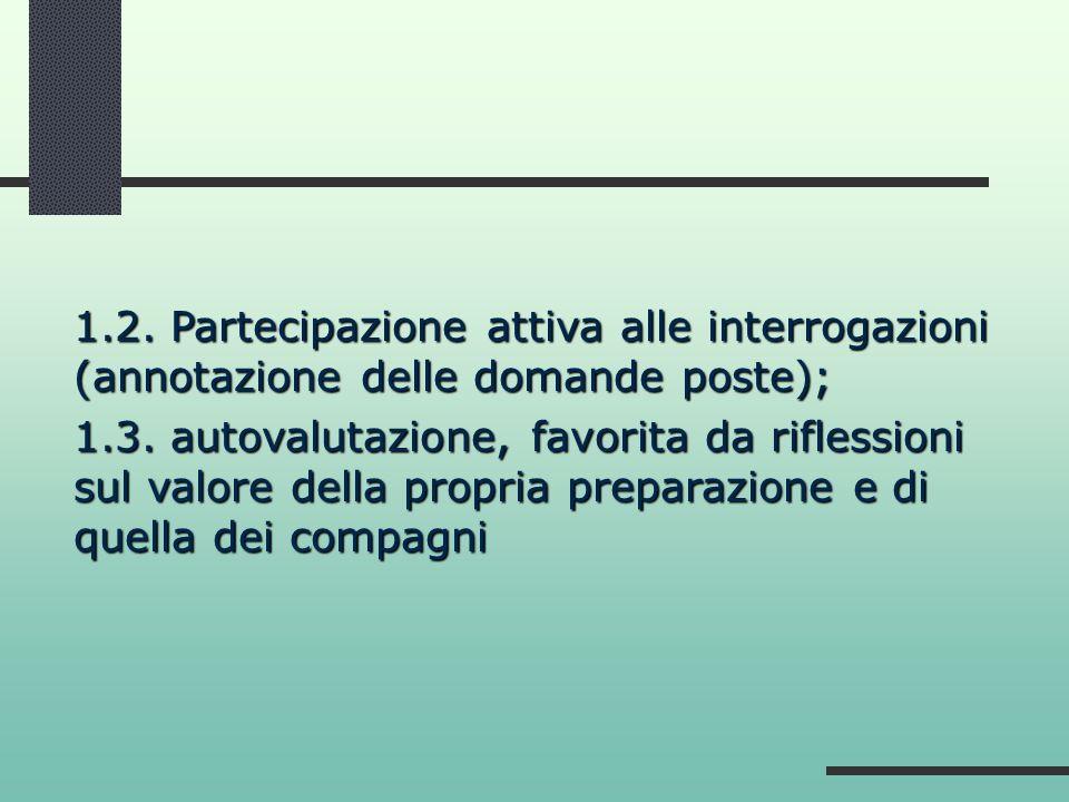 1.2. Partecipazione attiva alle interrogazioni (annotazione delle domande poste); 1.3. autovalutazione, favorita da riflessioni sul valore della propr
