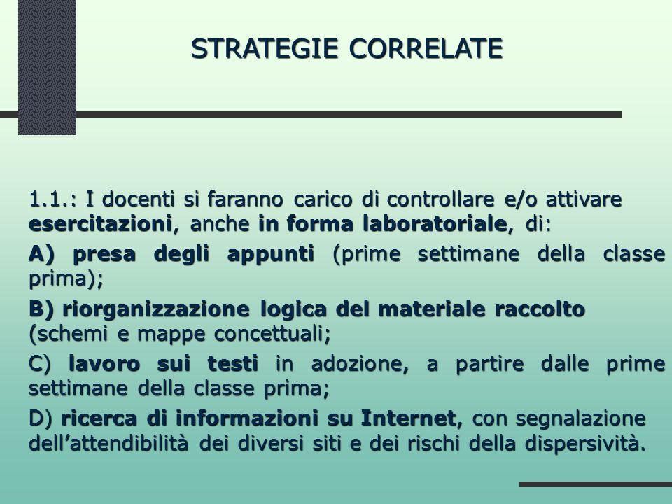 STRATEGIE CORRELATE 1.1.: I docenti si faranno carico di controllare e/o attivare esercitazioni, anche in forma laboratoriale, di: A) presa degli appu