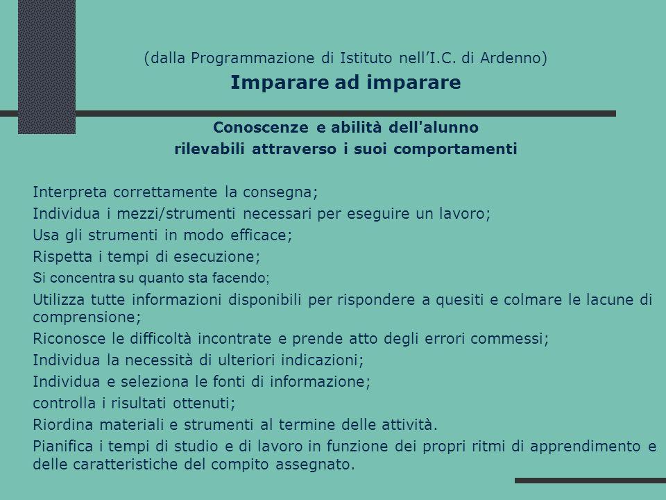 (dalla Programmazione di Istituto nellI.C. di Ardenno) Imparare ad imparare Conoscenze e abilità dell'alunno rilevabili attraverso i suoi comportament