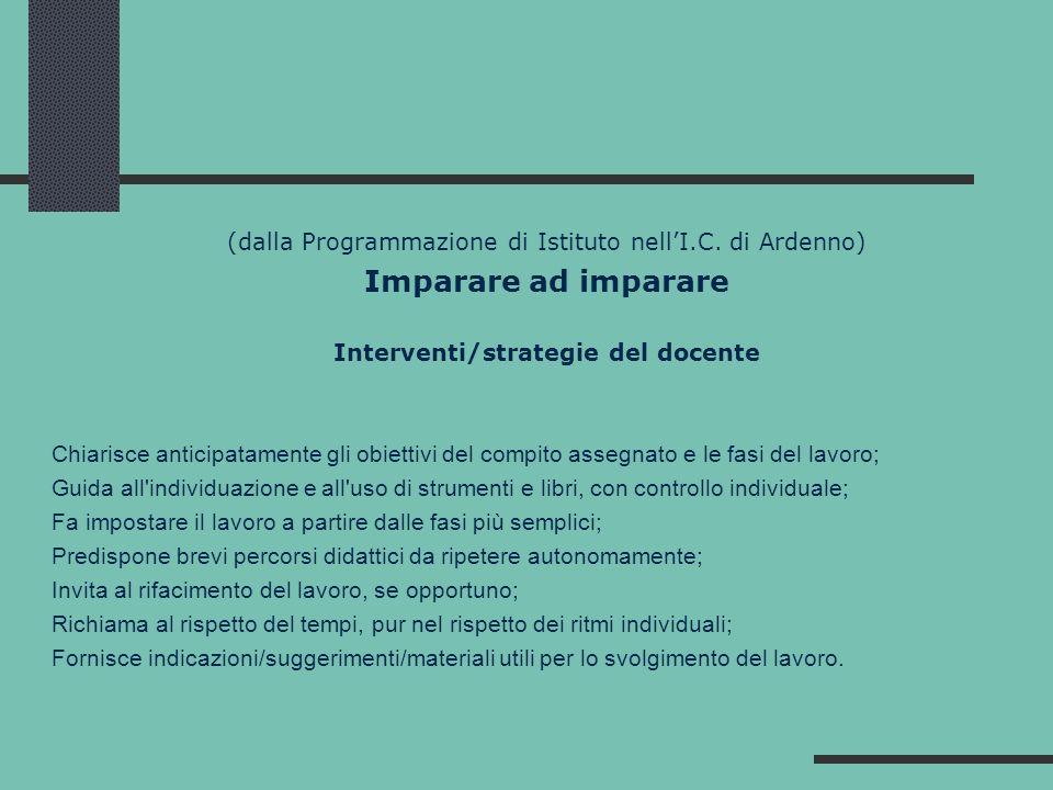 (dalla Programmazione di Istituto nellI.C. di Ardenno) Imparare ad imparare Interventi/strategie del docente Chiarisce anticipatamente gli obiettivi d