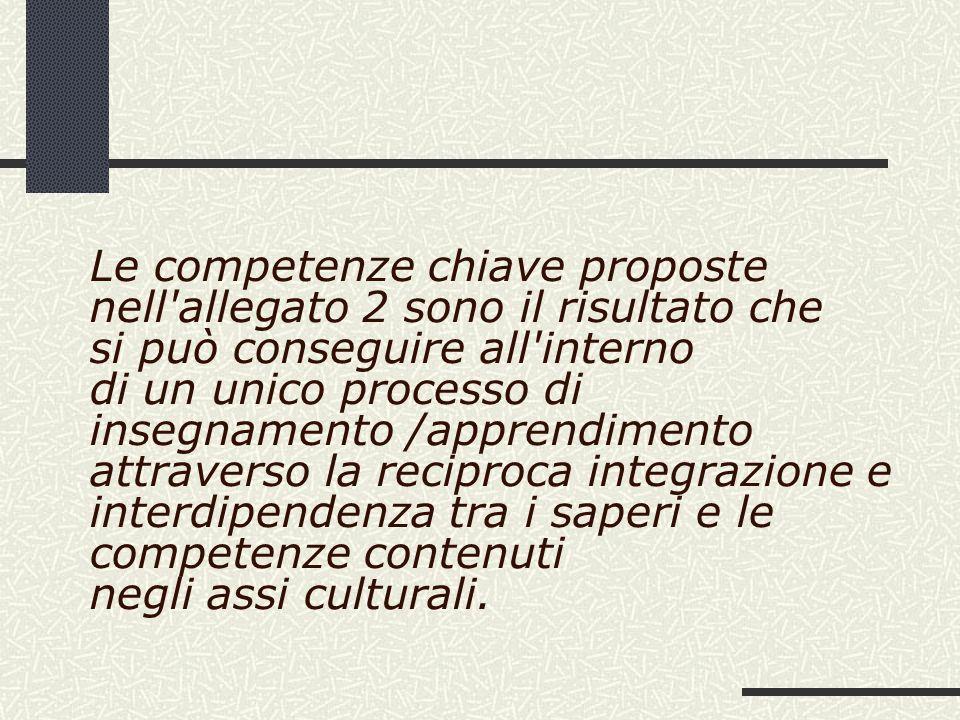 Le competenze chiave proposte nell'allegato 2 sono il risultato che si può conseguire all'interno di un unico processo di insegnamento /apprendimento