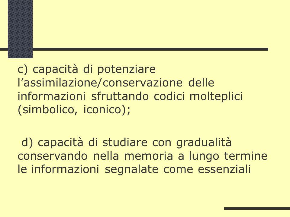 c) capacità di potenziare lassimilazione/conservazione delle informazioni sfruttando codici molteplici (simbolico, iconico); d) capacità di studiare c