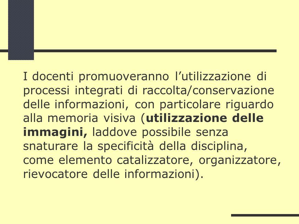 I docenti promuoveranno lutilizzazione di processi integrati di raccolta/conservazione delle informazioni, con particolare riguardo alla memoria visiv