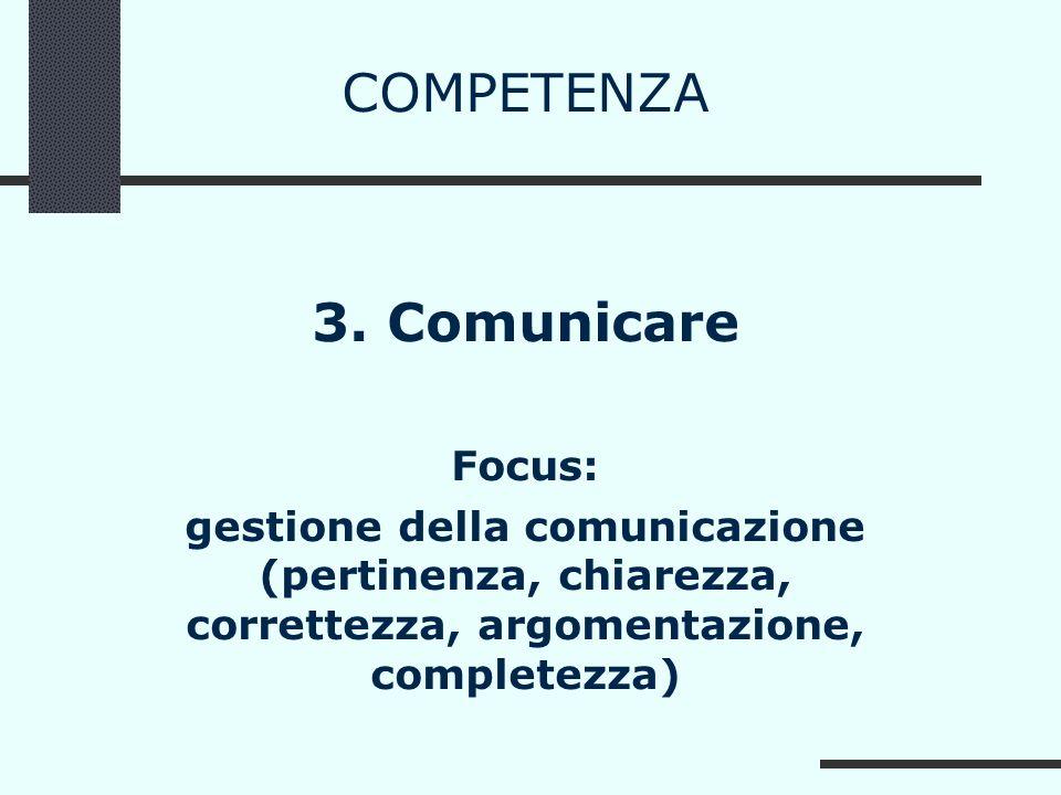 COMPETENZA 3. Comunicare Focus: gestione della comunicazione (pertinenza, chiarezza, correttezza, argomentazione, completezza)