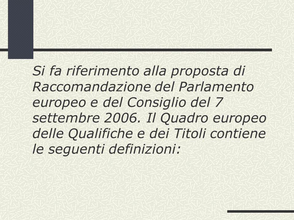 Si fa riferimento alla proposta di Raccomandazione del Parlamento europeo e del Consiglio del 7 settembre 2006. Il Quadro europeo delle Qualifiche e d