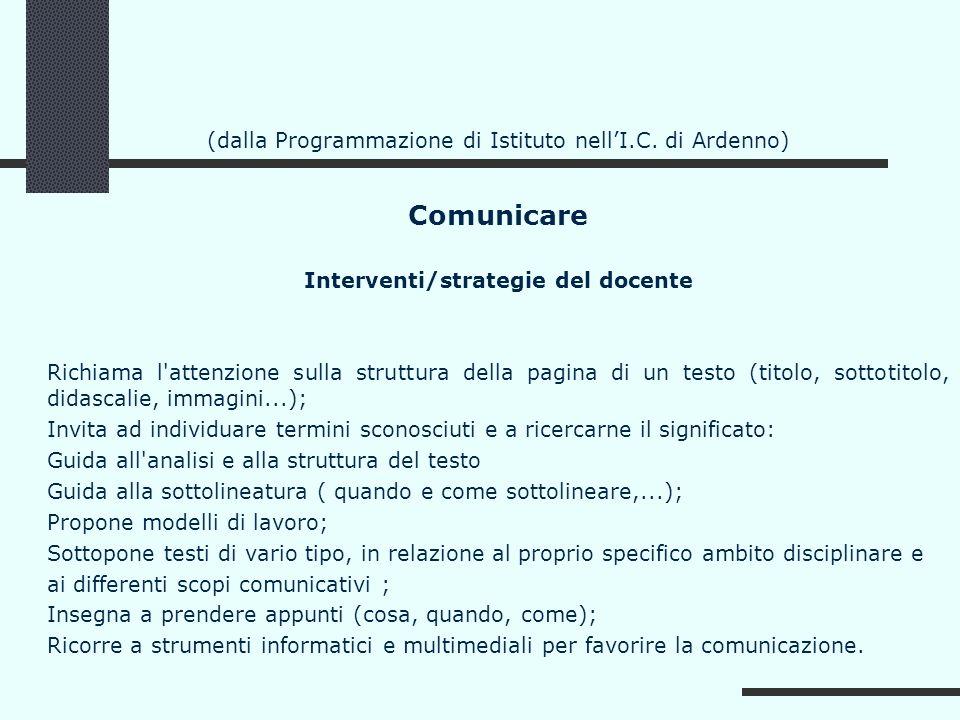 (dalla Programmazione di Istituto nellI.C. di Ardenno) Comunicare Interventi/strategie del docente Richiama l'attenzione sulla struttura della pagina