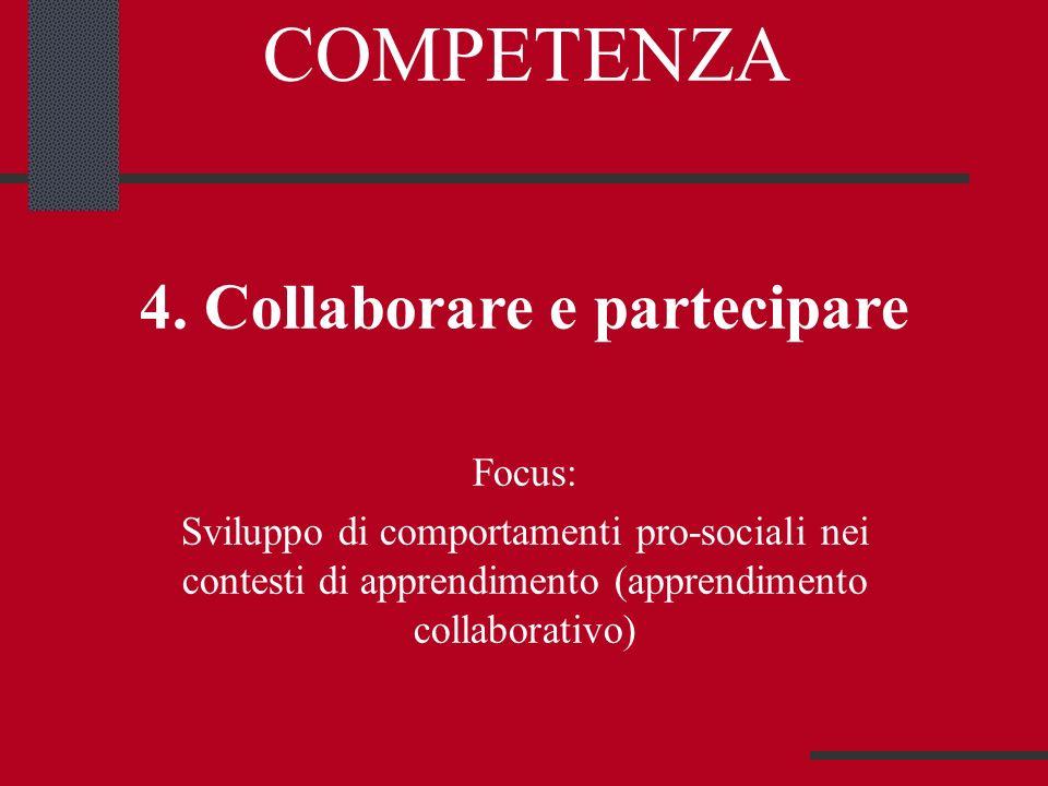 COMPETENZA 4. Collaborare e partecipare Focus: Sviluppo di comportamenti pro-sociali nei contesti di apprendimento (apprendimento collaborativo)
