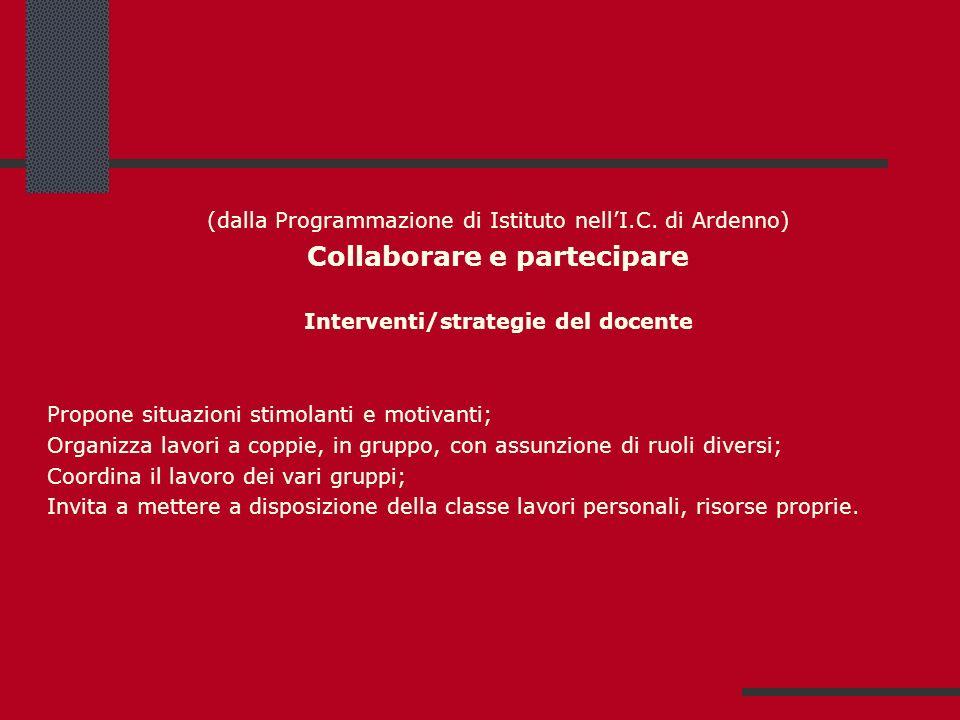 (dalla Programmazione di Istituto nellI.C. di Ardenno) Collaborare e partecipare Interventi/strategie del docente Propone situazioni stimolanti e moti