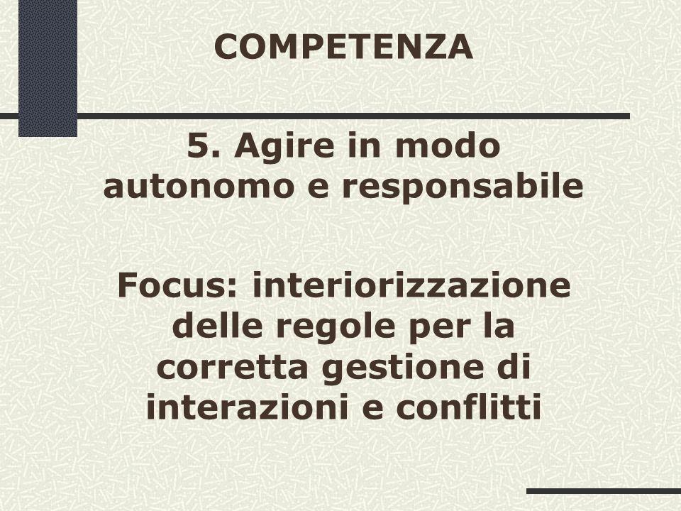 COMPETENZA 5. Agire in modo autonomo e responsabile Focus: interiorizzazione delle regole per la corretta gestione di interazioni e conflitti