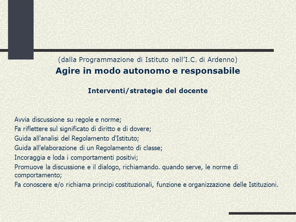 (dalla Programmazione di Istituto nellI.C. di Ardenno) Agire in modo autonomo e responsabile Interventi/strategie del docente Avvia discussione su reg