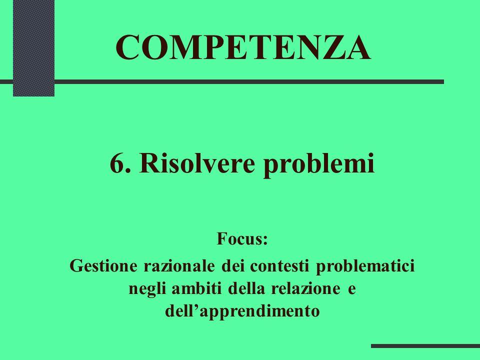 COMPETENZA 6. Risolvere problemi Focus: Gestione razionale dei contesti problematici negli ambiti della relazione e dellapprendimento