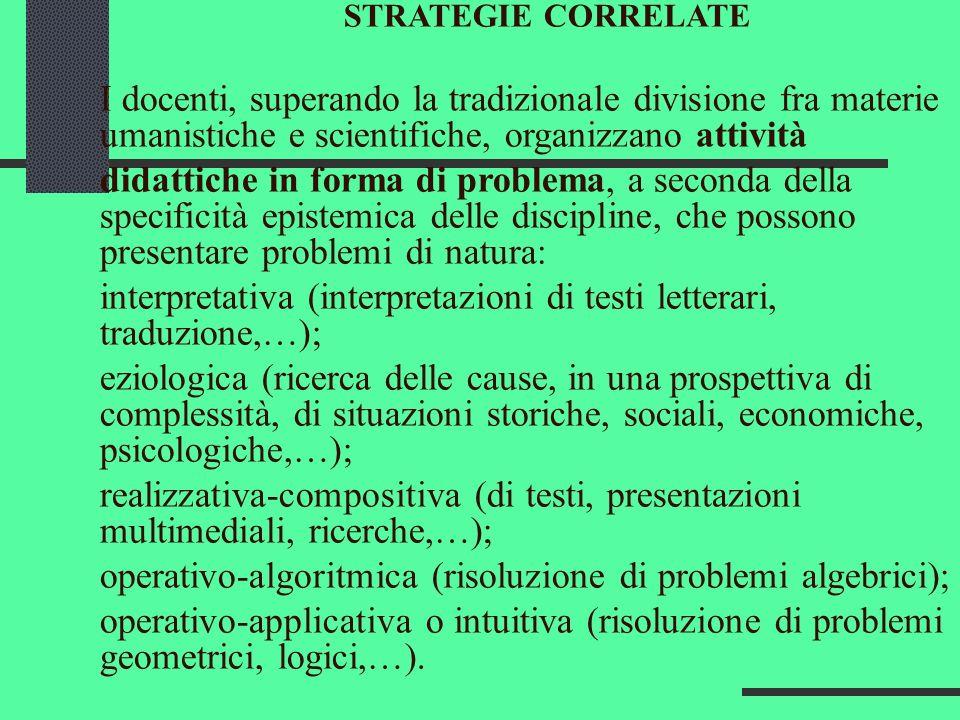 STRATEGIE CORRELATE I docenti, superando la tradizionale divisione fra materie umanistiche e scientifiche, organizzano attività didattiche in forma di