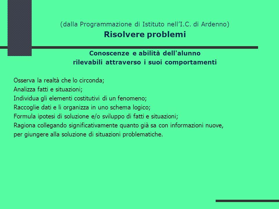 (dalla Programmazione di Istituto nellI.C. di Ardenno) Risolvere problemi Conoscenze e abilità dell'alunno rilevabili attraverso i suoi comportamenti