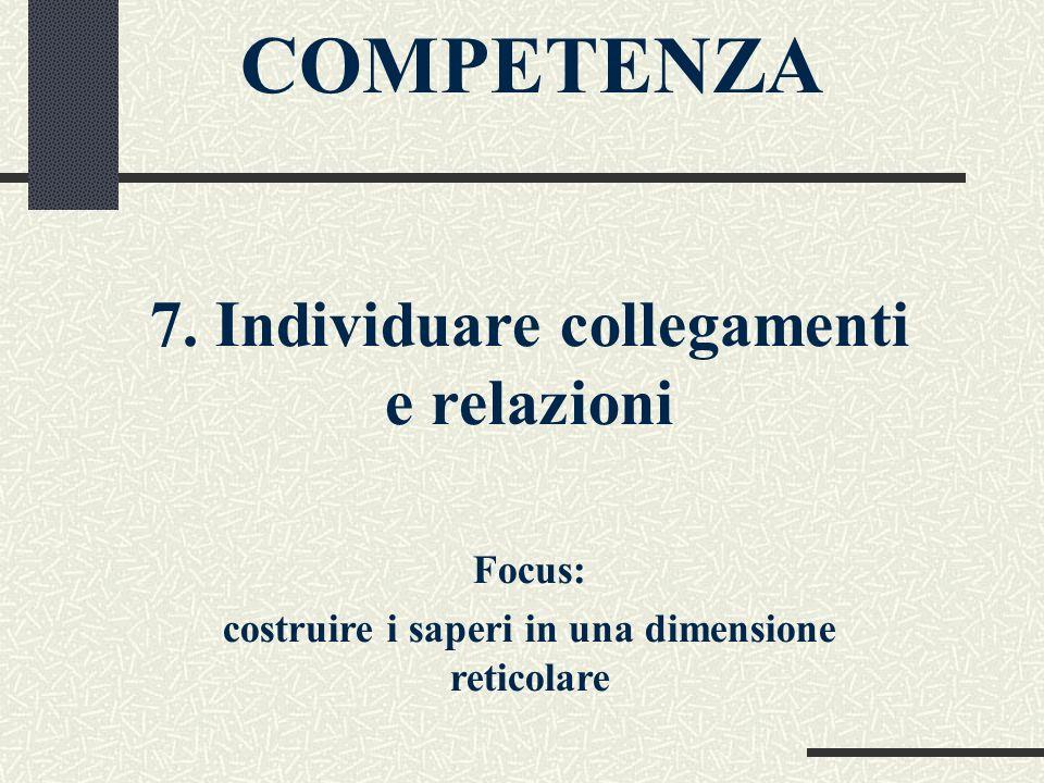 COMPETENZA 7. Individuare collegamenti e relazioni Focus: costruire i saperi in una dimensione reticolare