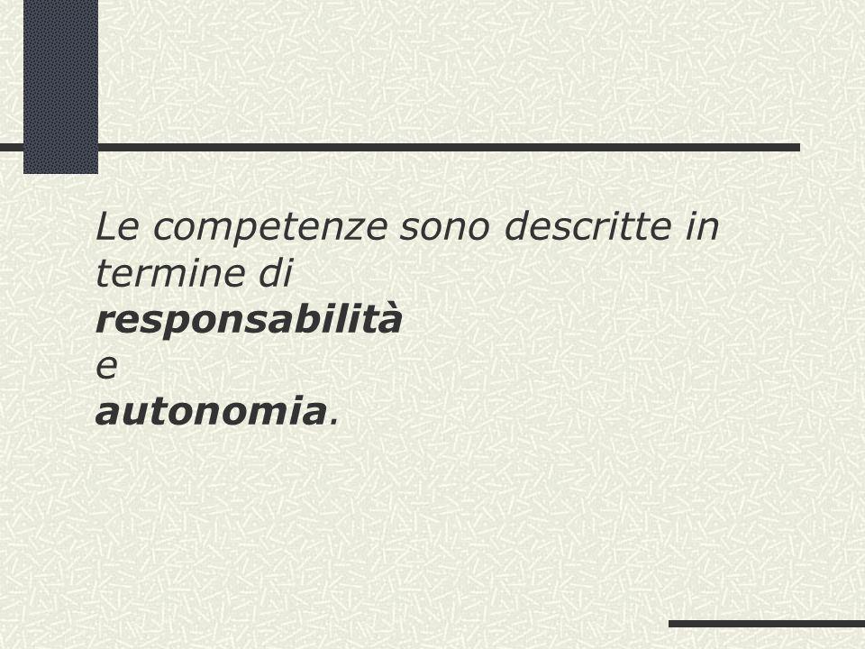 Le competenze sono descritte in termine di responsabilità e autonomia.