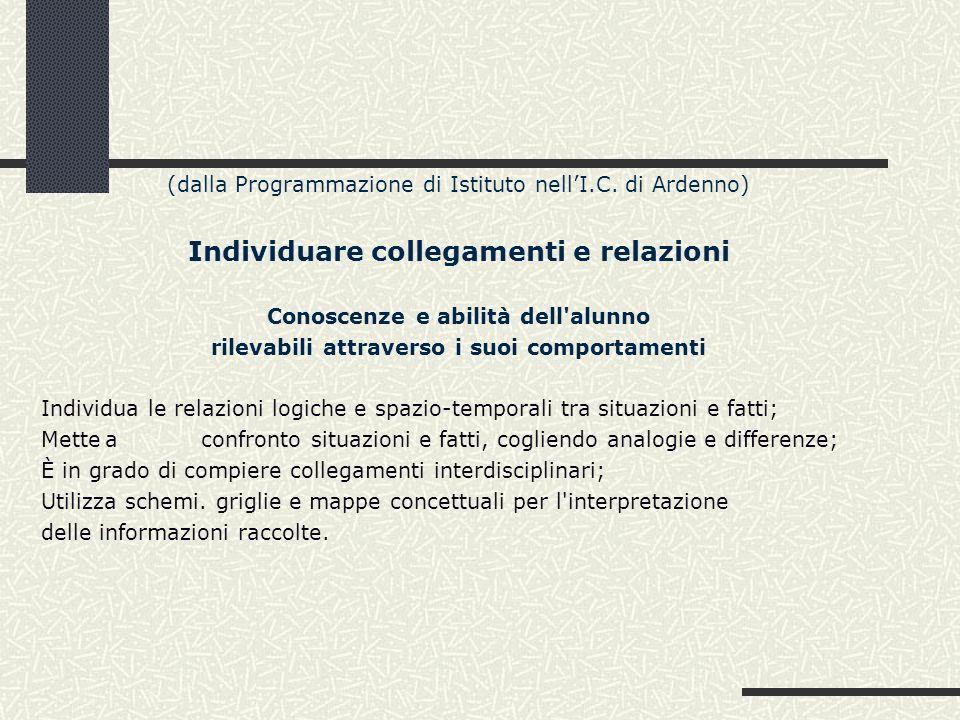 (dalla Programmazione di Istituto nellI.C. di Ardenno) Individuare collegamenti e relazioni Conoscenze e abilità dell'alunno rilevabili attraverso i s