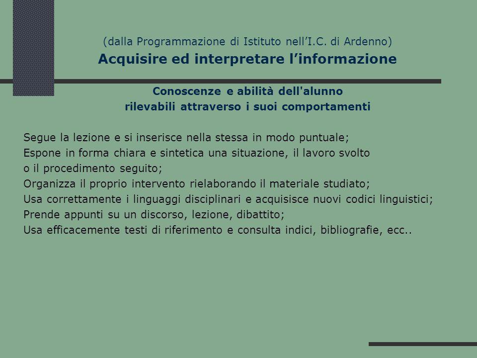 (dalla Programmazione di Istituto nellI.C. di Ardenno) Acquisire ed interpretare linformazione Conoscenze e abilità dell'alunno rilevabili attraverso