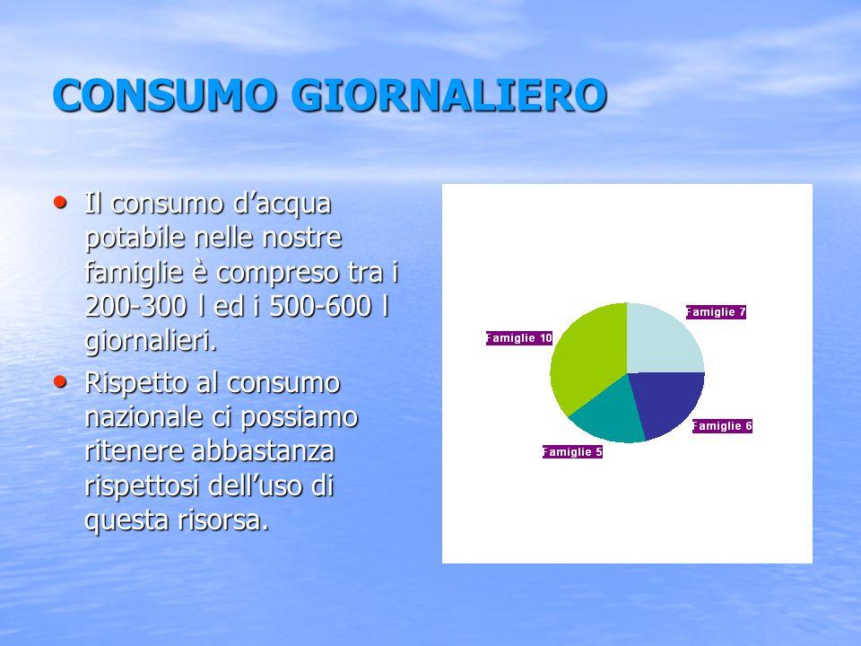 Indagine statistica del consumo giornaliero dacqua nelle nostre famiglie Consumo giornaliero x famiglia raggruppato in classi di frequenza Nº famiglie