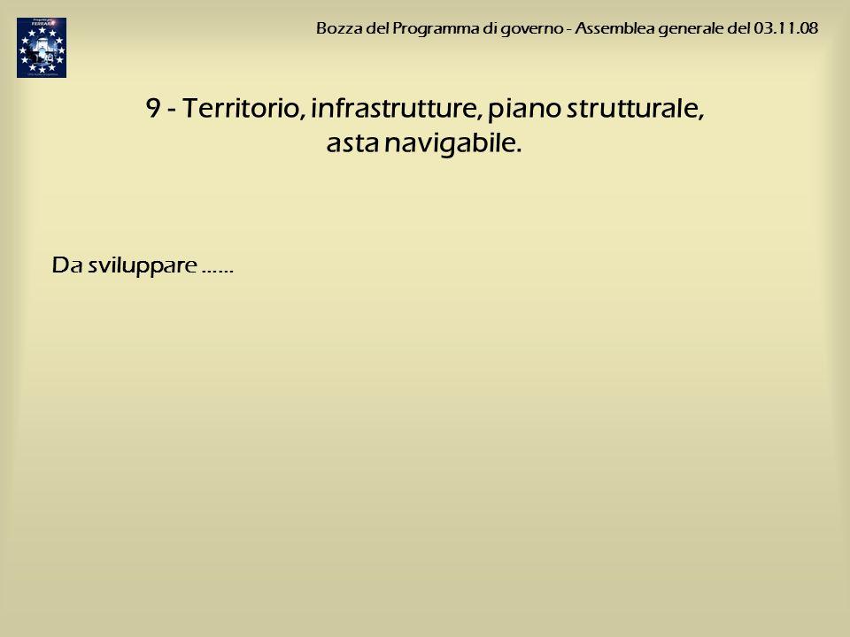 9 - Territorio, infrastrutture, piano strutturale, asta navigabile. Da sviluppare …… Bozza del Programma di governo - Assemblea generale del 03.11.08