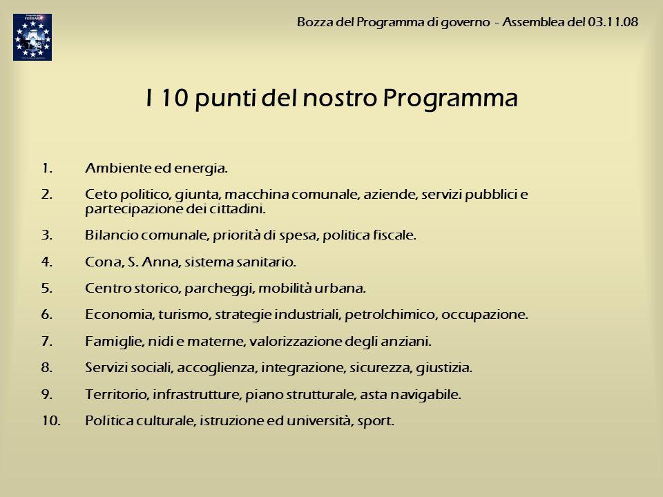 I 10 punti del nostro Programma 1.Ambiente ed energia. 2.Ceto politico, giunta, macchina comunale, aziende, servizi pubblici e partecipazione dei citt