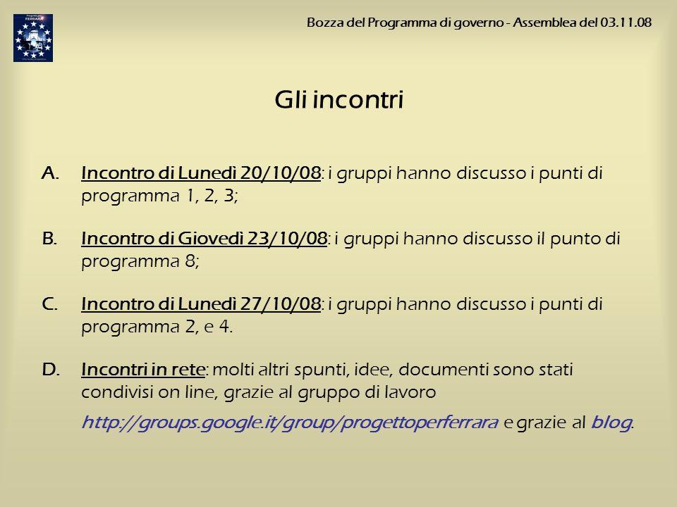 Gli incontri A.Incontro di Lunedì 20/10/08: i gruppi hanno discusso i punti di programma 1, 2, 3; B.Incontro di Giovedì 23/10/08: i gruppi hanno discu