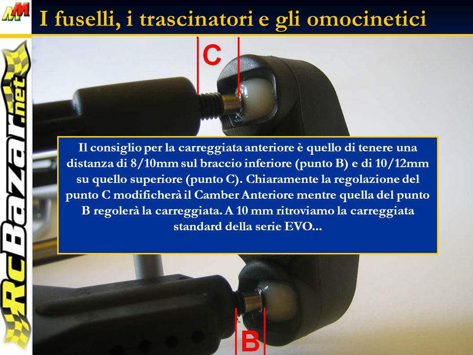 I fuselli, i trascinatori e gli omocinetici Il consiglio per la carreggiata anteriore è quello di tenere una distanza di 8/10mm sul braccio inferiore (punto B) e di 10/12mm su quello superiore (punto C).