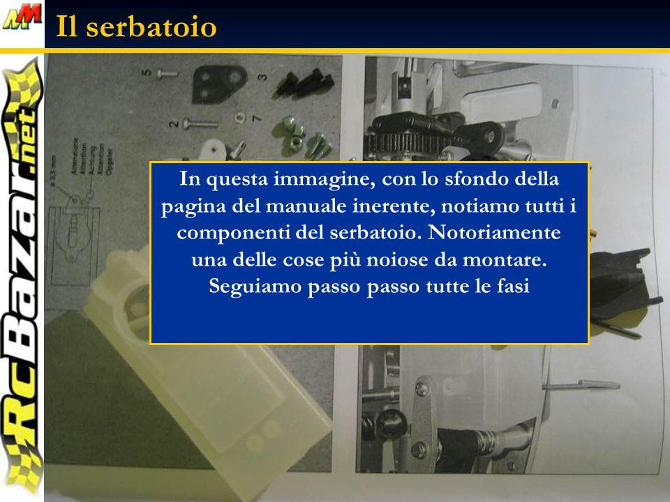 Il serbatoio In questa immagine, con lo sfondo della pagina del manuale inerente, notiamo tutti i componenti del serbatoio.