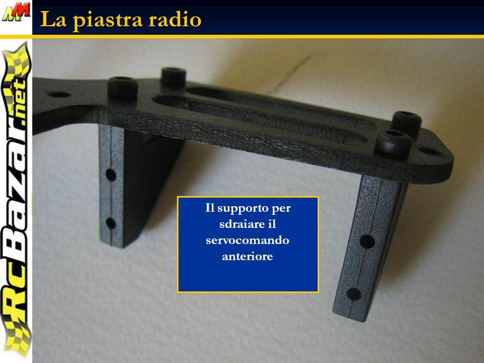 La piastra radio La piastra radio vista dallalto e da lato Il supporto per sdraiare il servocomando anteriore