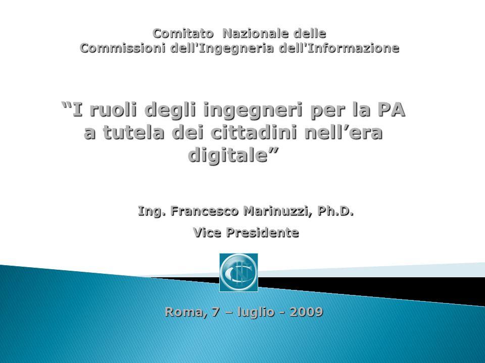 Roma, 7 – luglio - 2009 Ing. Francesco Marinuzzi, Ph.D.