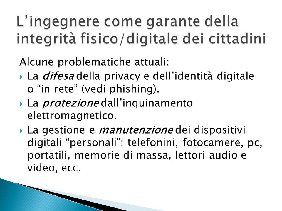 Alcune problematiche attuali: La difesa della privacy e dellidentità digitale o in rete (vedi phishing).