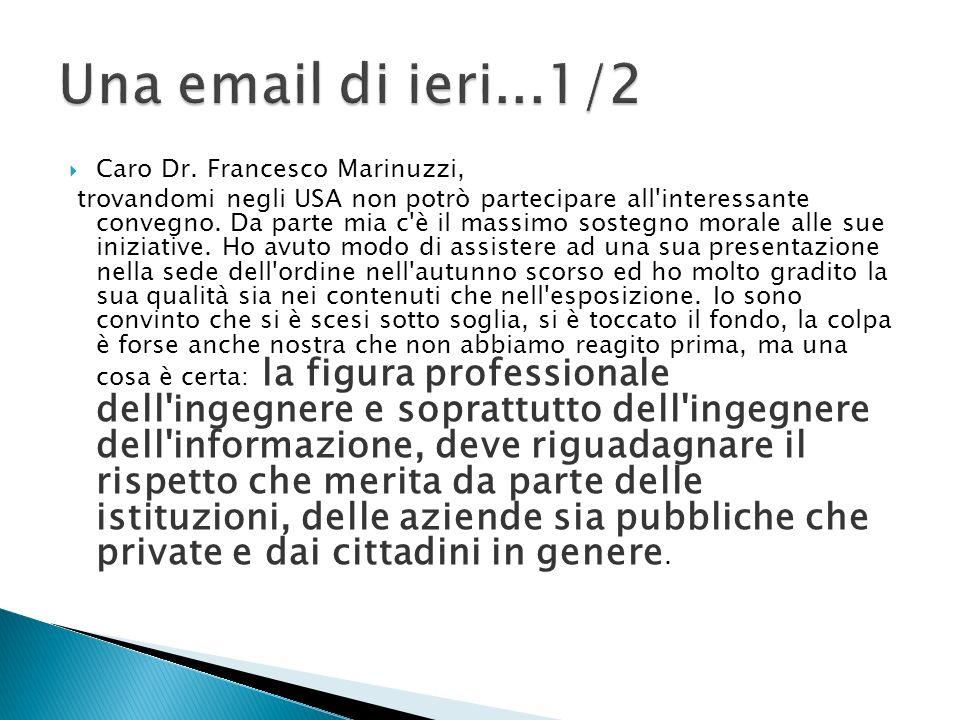 Caro Dr. Francesco Marinuzzi, trovandomi negli USA non potrò partecipare all interessante convegno.