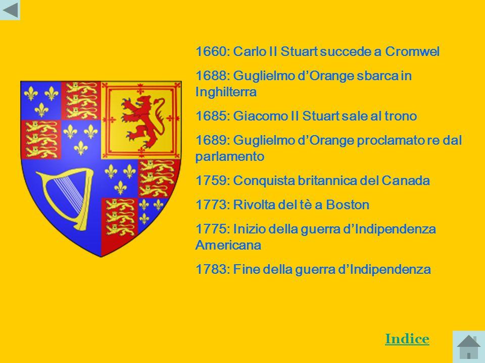 1603:Giacomo I Stuart succede a Elisabetta I 1620: Sbarco dei Padri Pellegrini in America 1625: Carlo I sale al tono 1639: Ribellione scozzese 1641: R