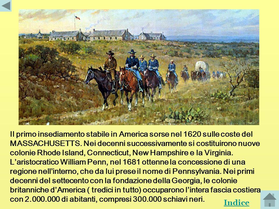 Tra linizio del seicento e la metà del settecento lInghilterra iniziò la colonizzazione delle Americhe. Gli insediamenti inglesi, conosciuti come Nuov