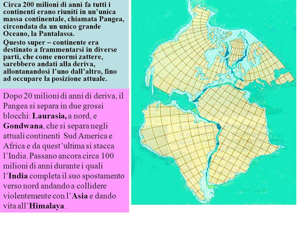 Circa 200 milioni di anni fa tutti i continenti erano riuniti in ununica massa continentale, chiamata Pangea, circondata da un unico grande Oceano, la