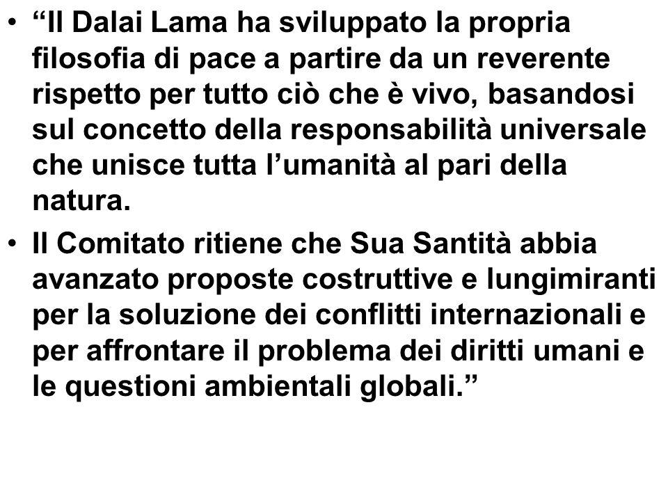 Il Dalai Lama ha sviluppato la propria filosofia di pace a partire da un reverente rispetto per tutto ciò che è vivo, basandosi sul concetto della res