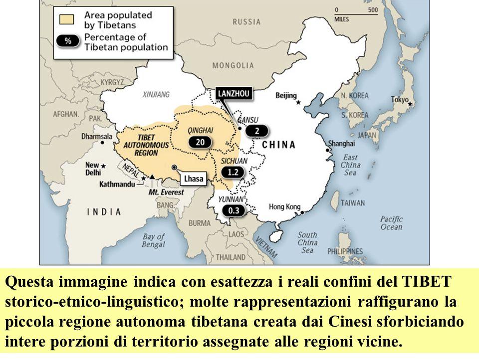 Questa immagine indica con esattezza i reali confini del TIBET storico-etnico-linguistico; molte rappresentazioni raffigurano la piccola regione auton