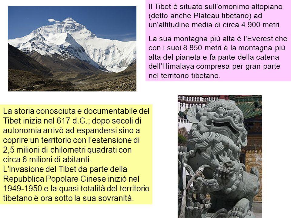 Il Tibet è situato sull'omonimo altopiano (detto anche Plateau tibetano) ad un'altitudine media di circa 4.900 metri. La sua montagna più alta è l'Eve
