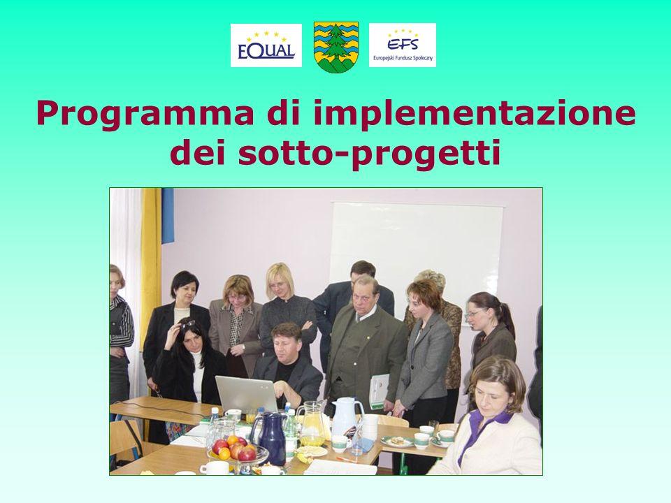 Programma di implementazione dei sotto-progetti