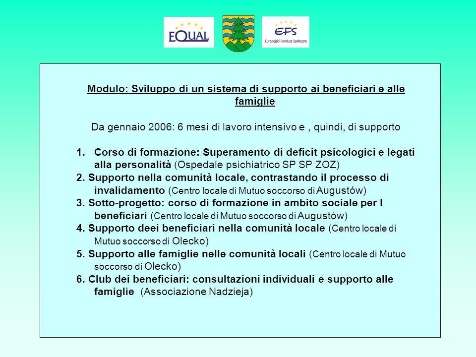 Modulo:Sviluppo di un sistema di supporto ai beneficiari e alle famiglie (cont.) 7.