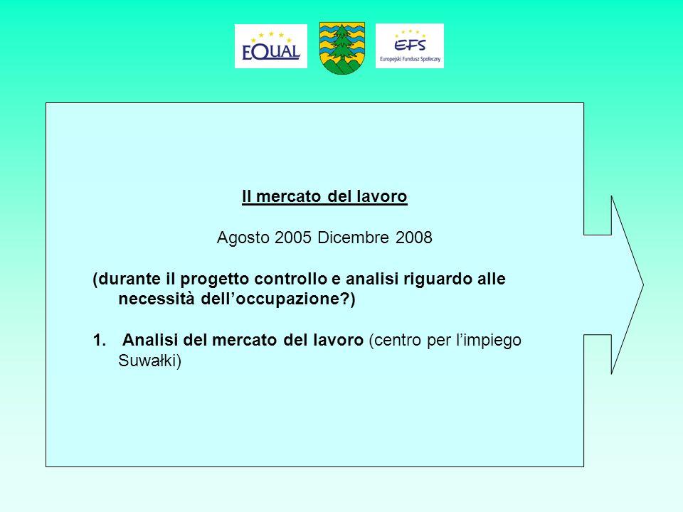Il mercato del lavoro Agosto 2005 Dicembre 2008 (durante il progetto controllo e analisi riguardo alle necessità delloccupazione ) 1.