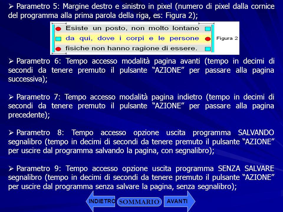 Parametro 5: Margine destro e sinistro in pixel (numero di pixel dalla cornice del programma alla prima parola della riga, es: Figura 2); Parametro 6: