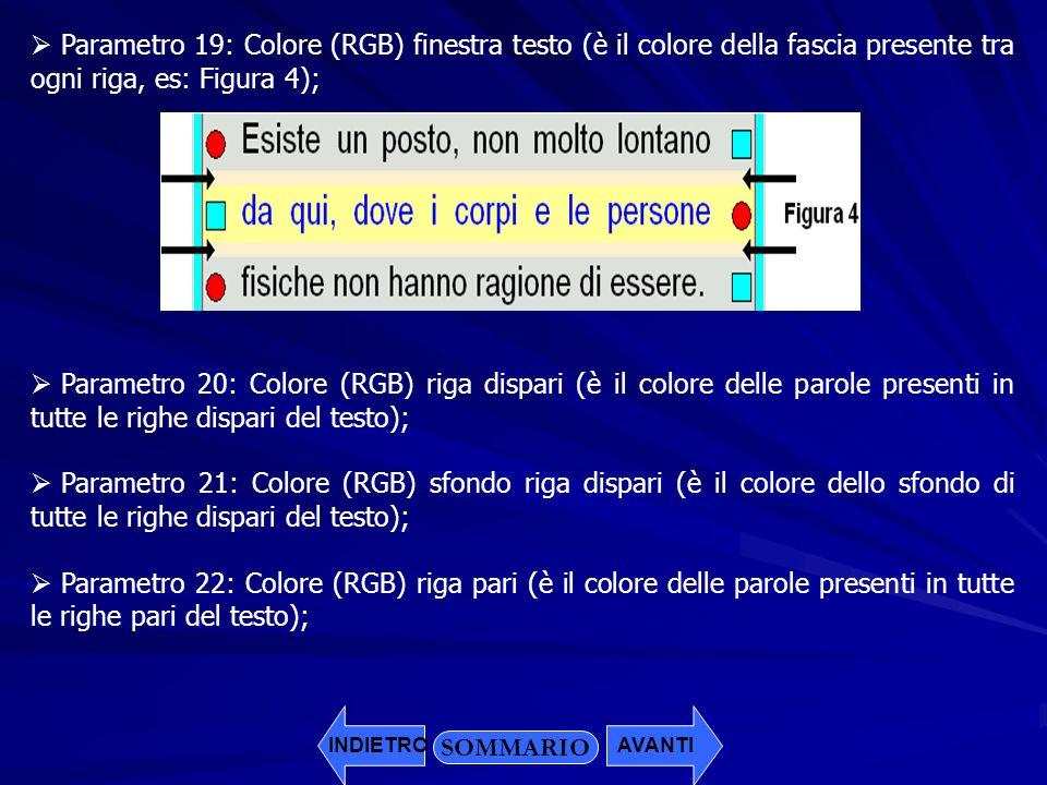 SOMMARIO Parametro 19: Colore (RGB) finestra testo (è il colore della fascia presente tra ogni riga, es: Figura 4); Parametro 20: Colore (RGB) riga di