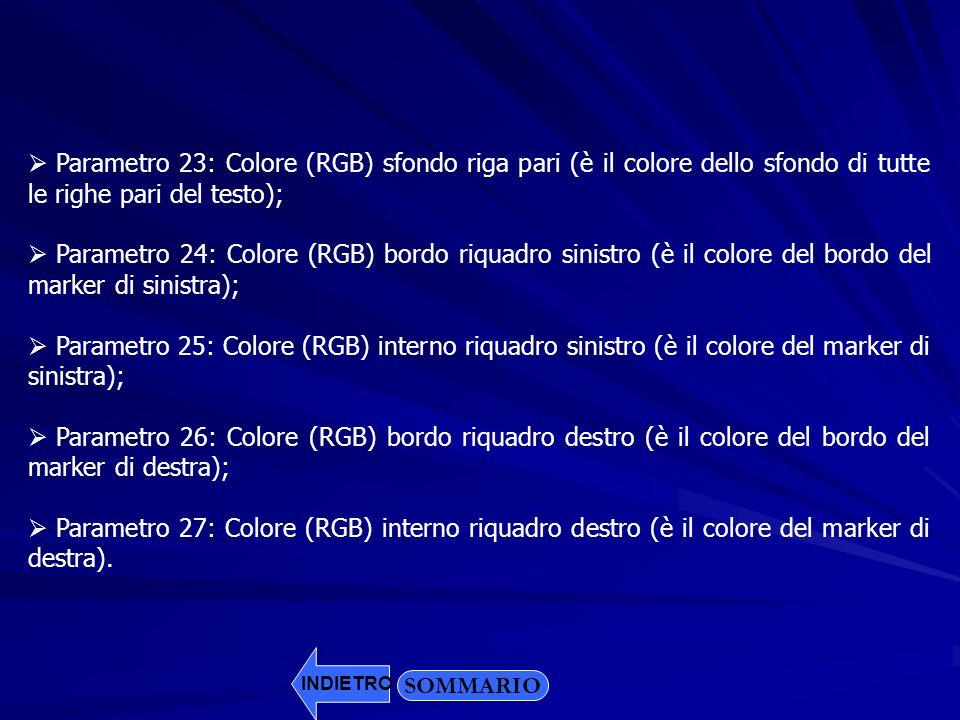 SOMMARIO Parametro 23: Colore (RGB) sfondo riga pari (è il colore dello sfondo di tutte le righe pari del testo); Parametro 24: Colore (RGB) bordo riq