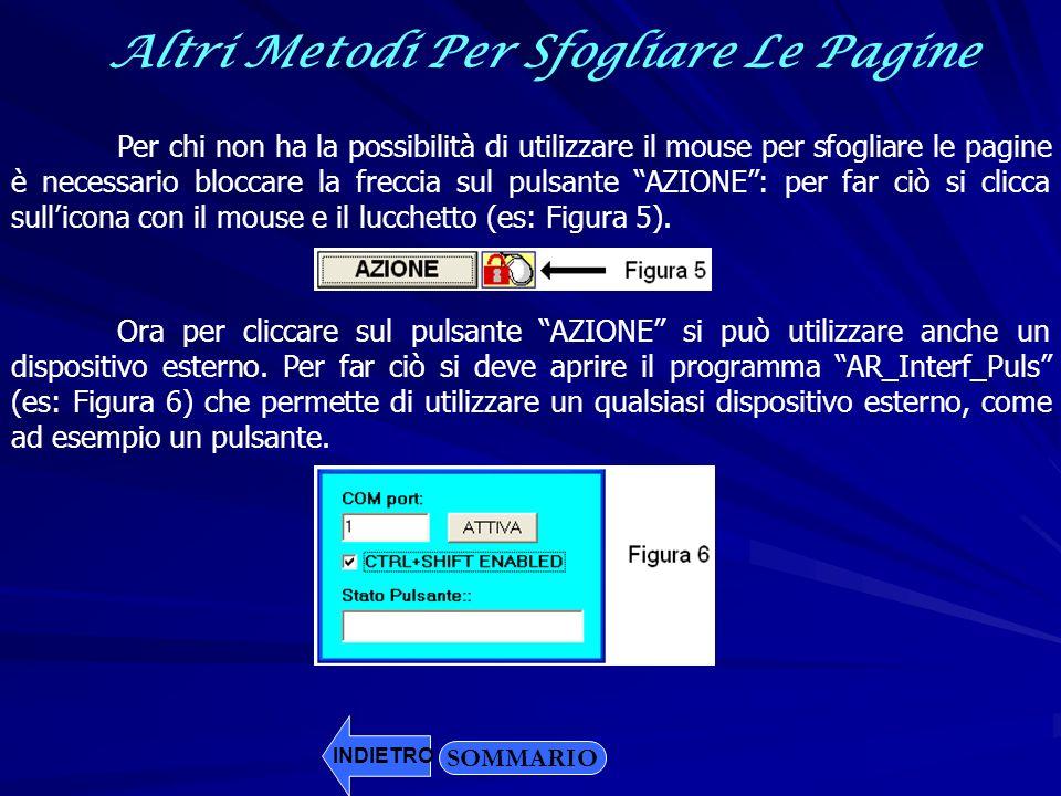 Altri Metodi Per Sfogliare Le Pagine SOMMARIO Per chi non ha la possibilità di utilizzare il mouse per sfogliare le pagine è necessario bloccare la fr